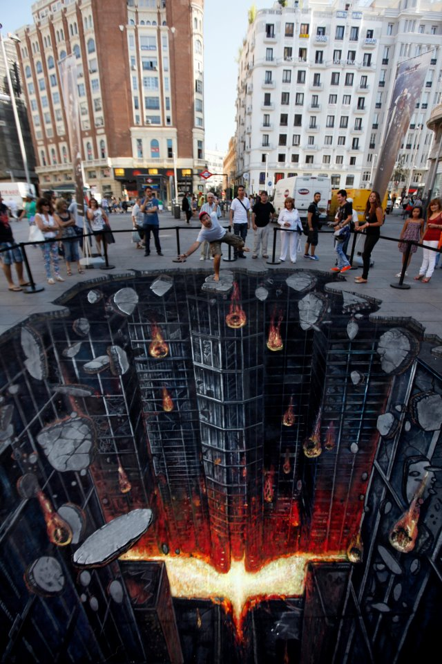 3d dark knight rises street art